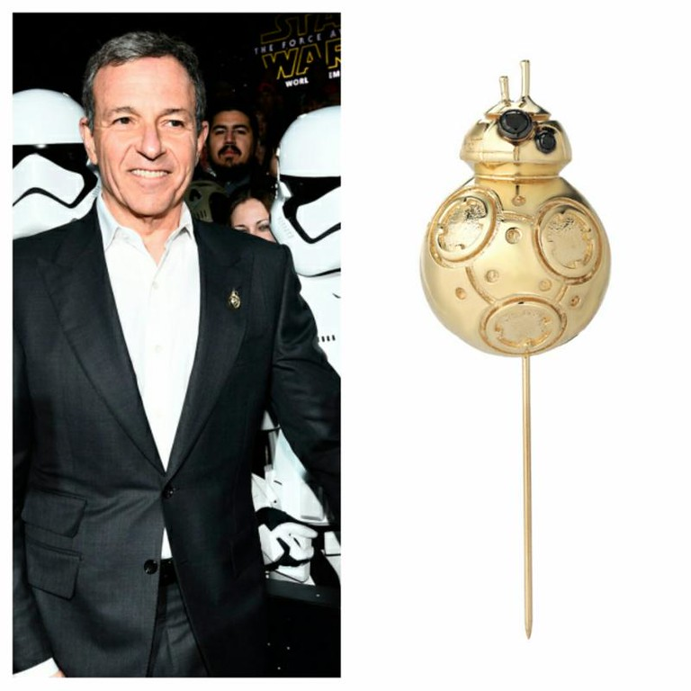 Check out Bob Iger's custom-created 18 KT gold, black diamond, BB8 lapel pin