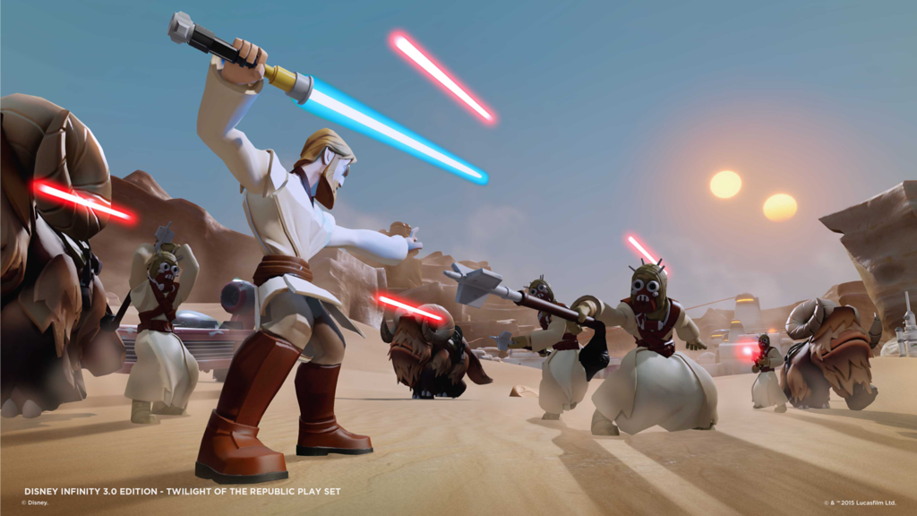 Light-up Lightsabers adorn select Disney Infinity figures, available at select retailers only